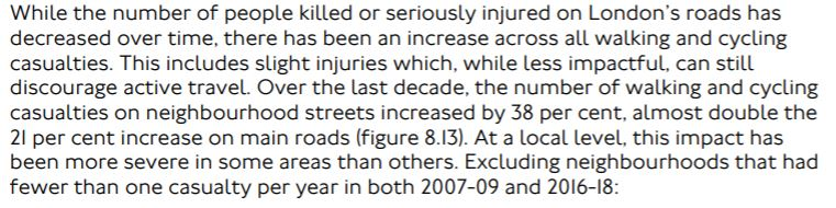 While the number of people killed or seriously injured on London's roads has decreased over time, there has been an increase across all walking and cycling casualties. This includes slight injuries which, while less impactful, can still discourage active travel. Over the last decade, the number of walking and cycling casualties on neighbourhood streets increased by 38 per cent, almost double the 21 per cent increase on main roads (figure 8.13). At a local level, this impact has been more severe in some areas than others. Excluding neighbourhoods that had fewer than one casualty per year in both 2007-09 and 2016-18: