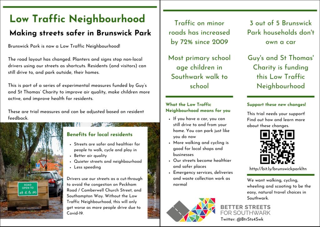 Flyer for the Brunswick Park Low Traffic Neighbourhood